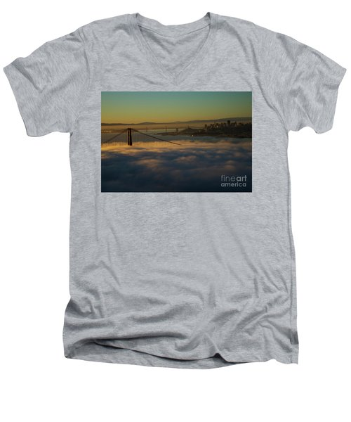 Men's V-Neck T-Shirt featuring the photograph Sunrise At The Golden Gate by David Bearden