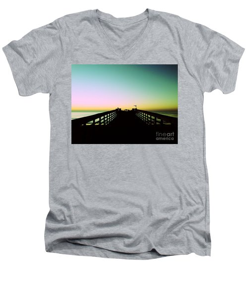 Sunrise At The Myrtle Beach State Park Pier In South Carolina Us Men's V-Neck T-Shirt by Vizual Studio