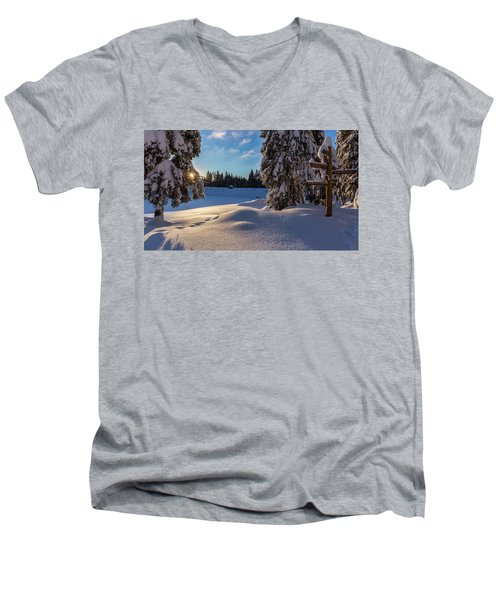 sunrise at the Oderteich, Harz Men's V-Neck T-Shirt by Andreas Levi