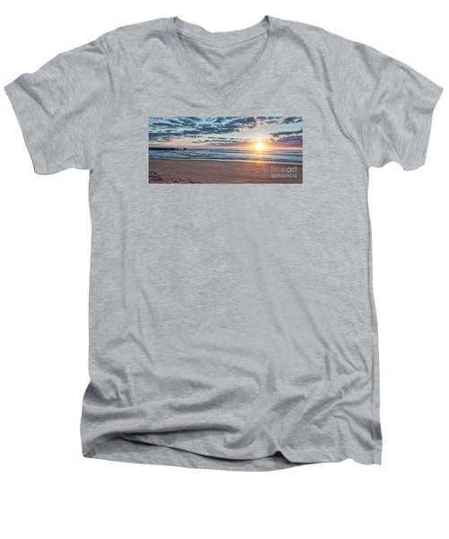 Men's V-Neck T-Shirt featuring the photograph Sunrise At The Outer Banks by Laurinda Bowling