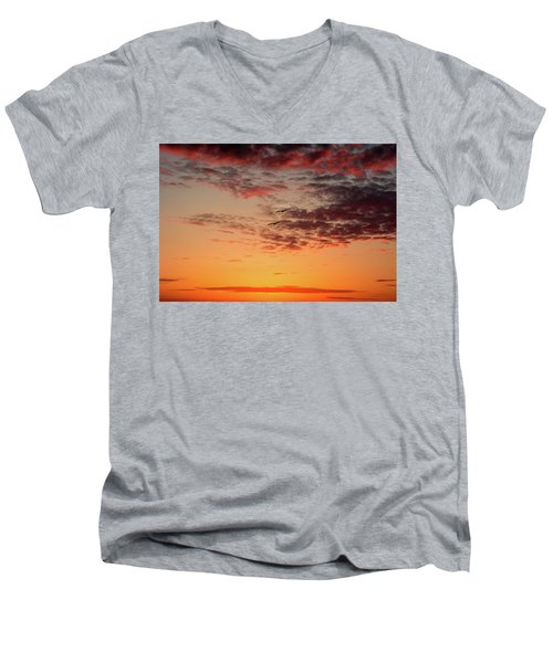 Men's V-Neck T-Shirt featuring the photograph Sunrise At Treasure Island by RC Pics