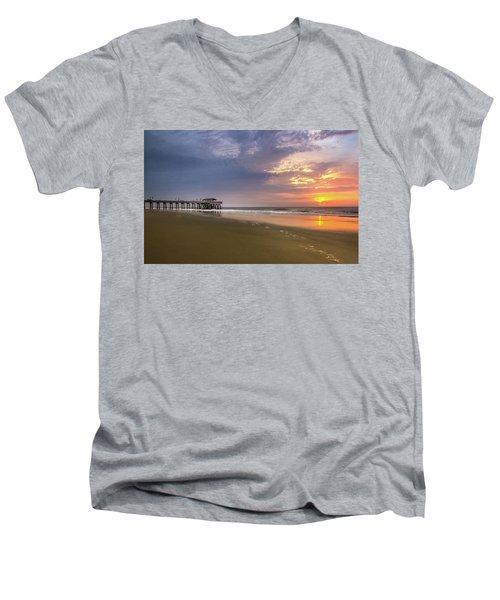 Sunrise At Tybee Island Pier Men's V-Neck T-Shirt