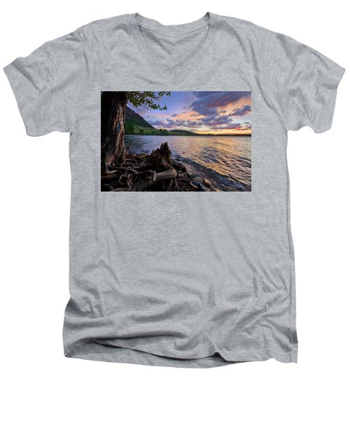 Sunrise At Waterton Lakes Men's V-Neck T-Shirt