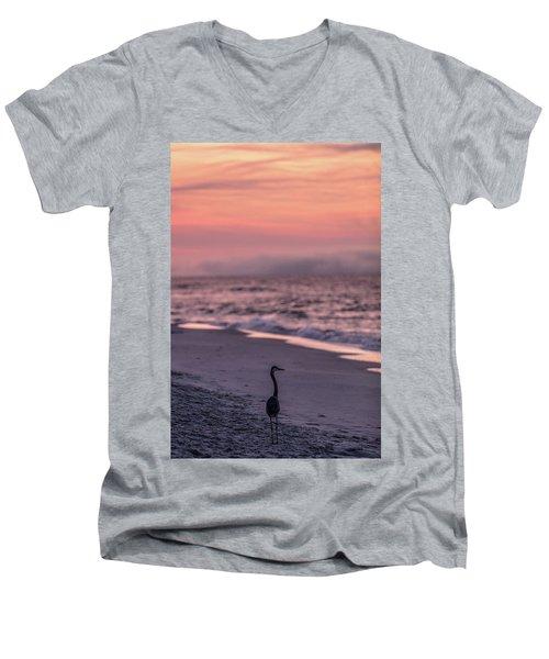 Men's V-Neck T-Shirt featuring the photograph Sunrise Beach And Bird by John McGraw