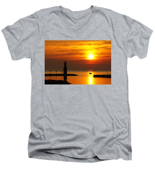 Sunrise Brushstrokes Men's V-Neck T-Shirt