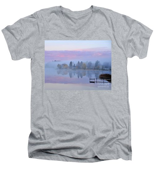 Sunrise Comes To Stoneledge Lake Men's V-Neck T-Shirt