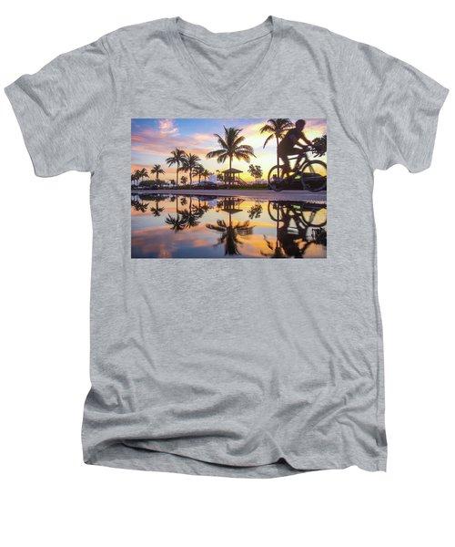 Sunrise Cyclist Delray Beach Florida Men's V-Neck T-Shirt