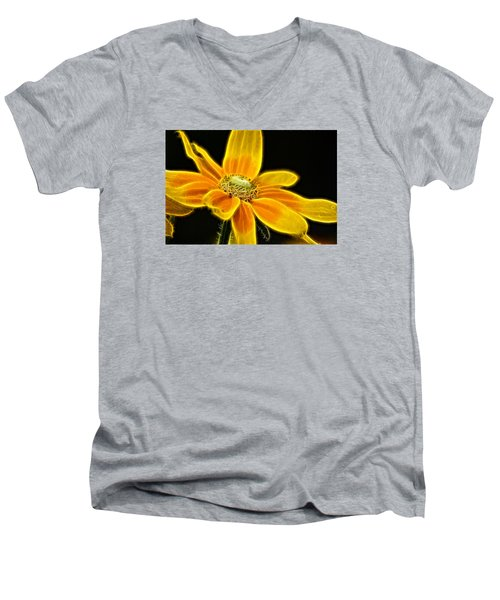 Men's V-Neck T-Shirt featuring the photograph Sunrise Daisy by Cameron Wood
