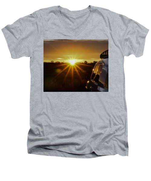 Men's V-Neck T-Shirt featuring the photograph Sunrise And My Ride by Jeremy McKay