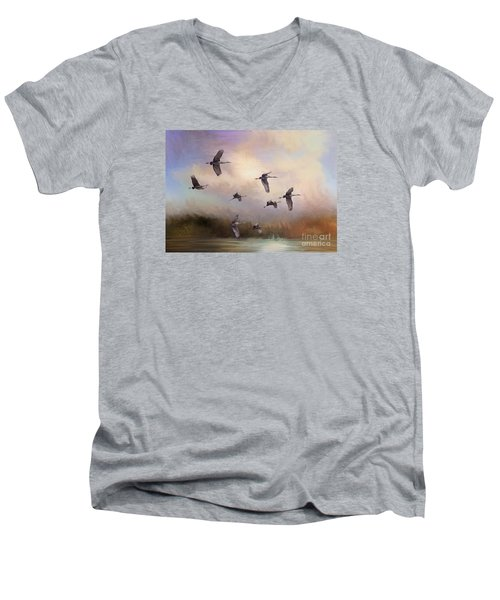 Sunrise Flight Men's V-Neck T-Shirt by Janice Rae Pariza
