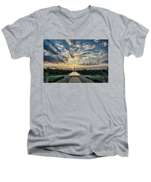 Sunrise From The Steps Of The Lincoln Memorial In Washington, Dc  Men's V-Neck T-Shirt