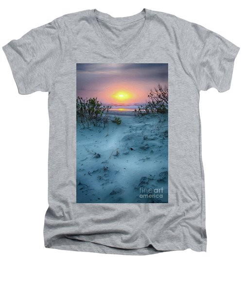 Men's V-Neck T-Shirt featuring the painting Sunrise Hike On The Outer Banks Ap by Dan Carmichael