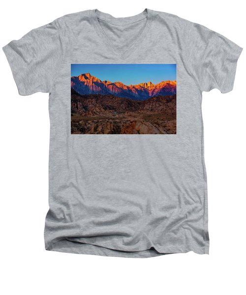 Sunrise Illuminating The Sierra Men's V-Neck T-Shirt