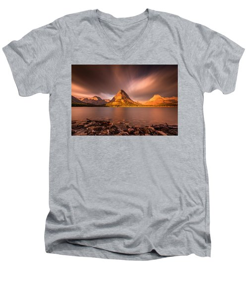 Sunrise In Glacier National Park Men's V-Neck T-Shirt