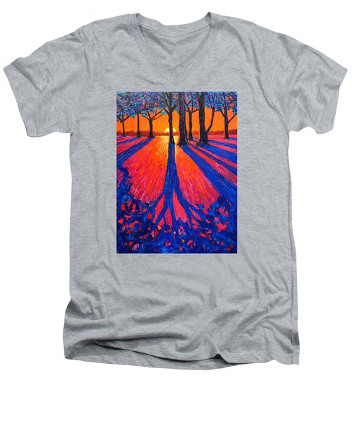 Sunrise In Glory - Long Shadows Of Trees At Dawn Men's V-Neck T-Shirt by Ana Maria Edulescu