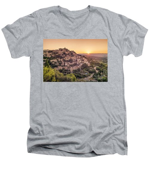 Men's V-Neck T-Shirt featuring the photograph Sunrise In Gordes Provence  by Juergen Held