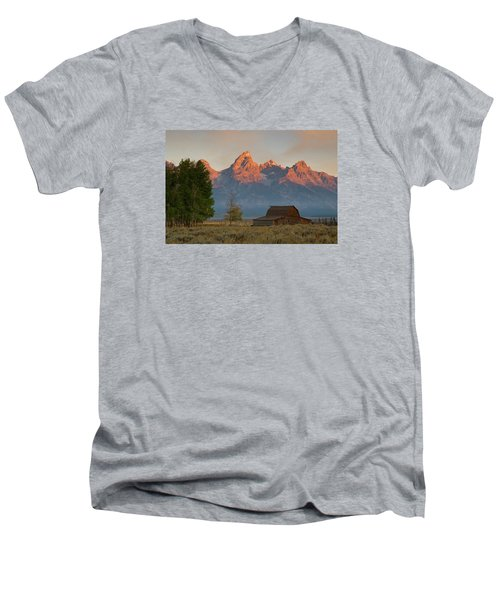 Men's V-Neck T-Shirt featuring the photograph Sunrise In Jackson Hole by Steve Stuller