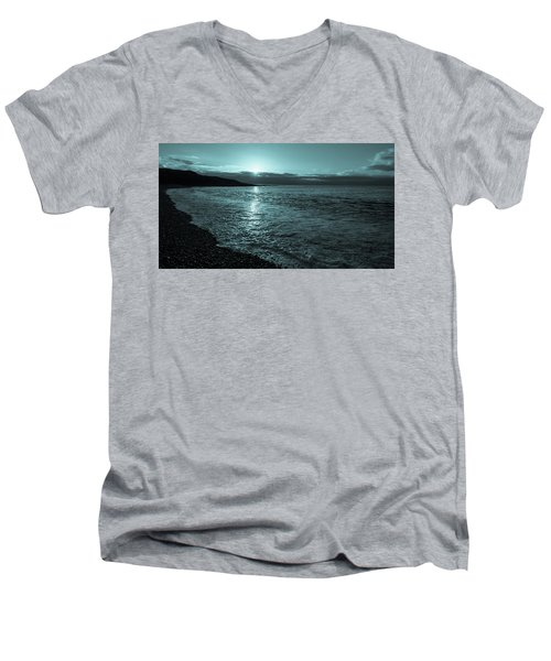 Men's V-Neck T-Shirt featuring the photograph Sunrise In Stonehaven B-w by Sergey Simanovsky