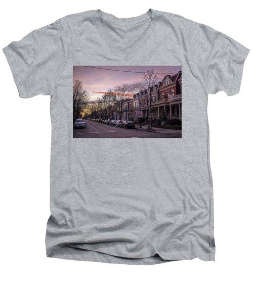 Sunrise In The Fan Men's V-Neck T-Shirt