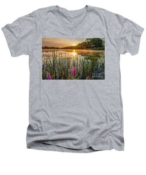 Sunrise Kent Lake Men's V-Neck T-Shirt by Patrick Shupert