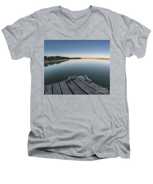 Sunrise On A Clear Morning Over Large Lake With Fog On Top, From Men's V-Neck T-Shirt