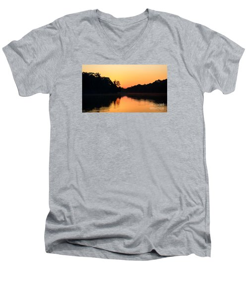 Sunrise On A Lake Men's V-Neck T-Shirt