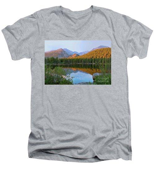 Sunrise On Bear Lake Rocky Mtns Men's V-Neck T-Shirt by Teri Brown