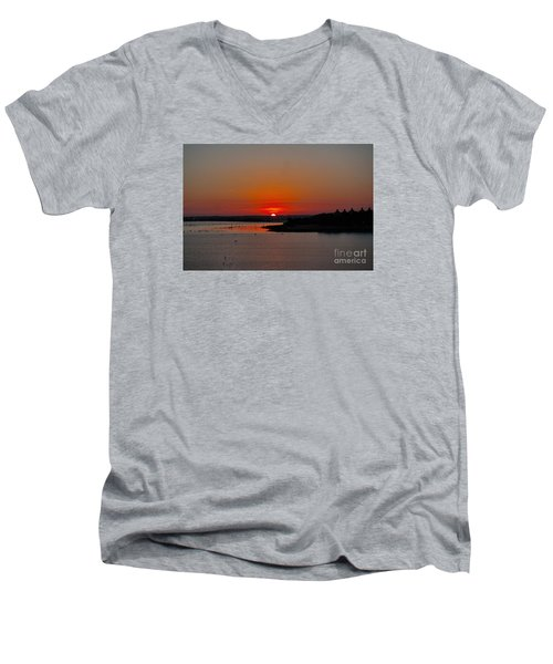 Sunrise On Lake Ray Hubbard Men's V-Neck T-Shirt by Diana Mary Sharpton