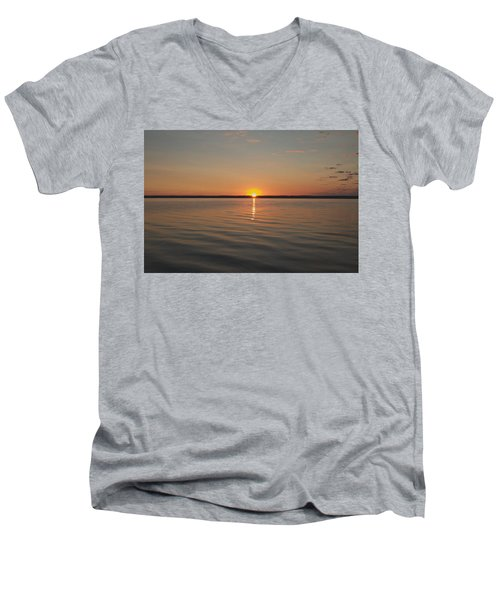 Sunrise On Seneca Lake Men's V-Neck T-Shirt by William Norton