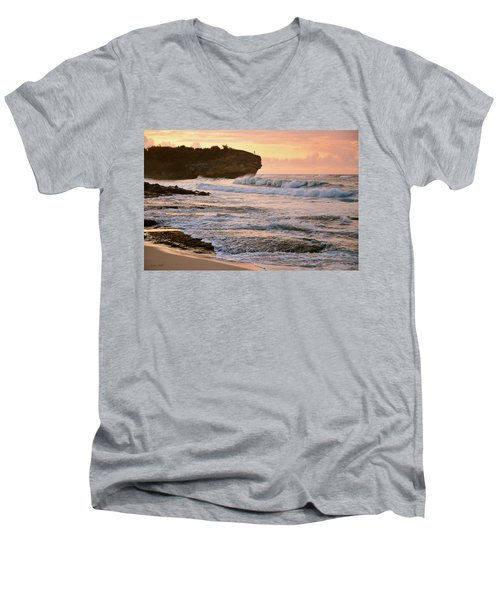 Sunrise On Shipwreck Beach Men's V-Neck T-Shirt by Marie Hicks