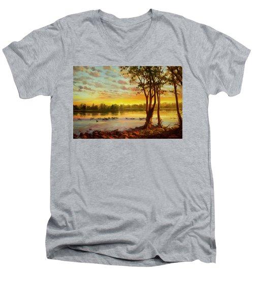 Sunrise On The Columbia Men's V-Neck T-Shirt