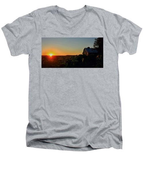 Men's V-Neck T-Shirt featuring the photograph Sunrise On The Farm by Chris Berry