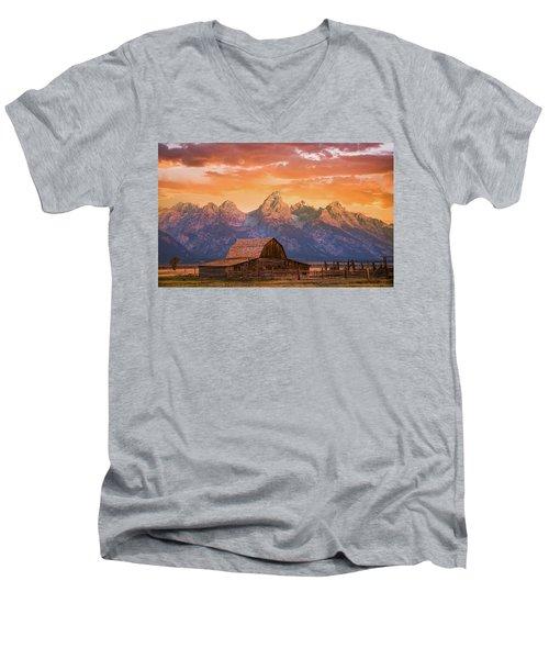 Sunrise On The Ranch Men's V-Neck T-Shirt