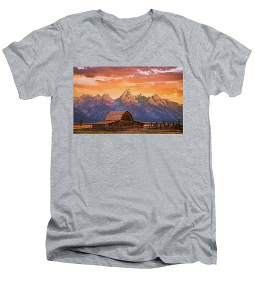 Sunrise On The Ranch Men's V-Neck T-Shirt