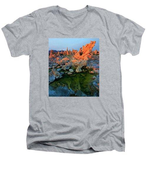 Sunrise On Tufa 2 Men's V-Neck T-Shirt by Sean Sarsfield