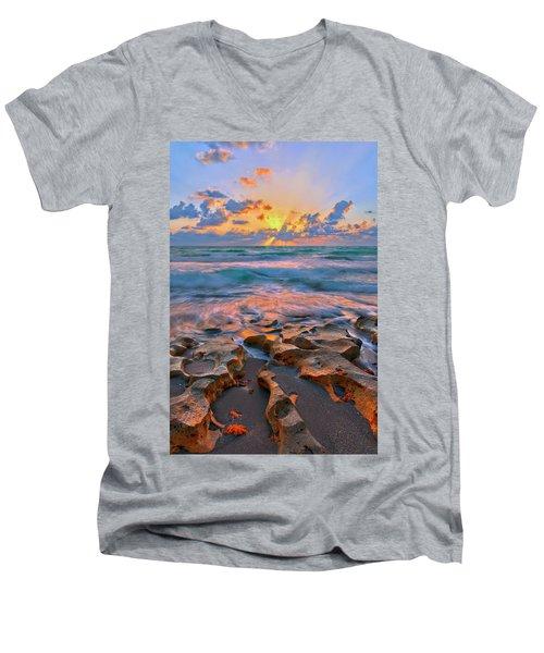 Sunrise Over Carlin Park In Jupiter Florida Men's V-Neck T-Shirt by Justin Kelefas