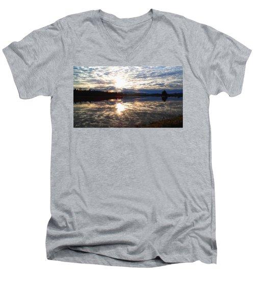 Men's V-Neck T-Shirt featuring the photograph Sunrise Over Flooded Field In Bow by Karen Molenaar Terrell