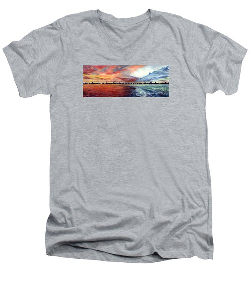 Sunrise Over Indian Lake Men's V-Neck T-Shirt by Nancy Cupp