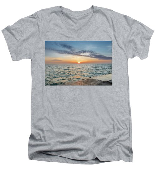 Men's V-Neck T-Shirt featuring the photograph Sunrise Over Lake Michigan by Peter Ciro