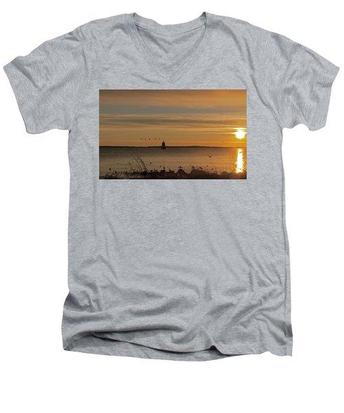 Sunrise Over New Bedford Men's V-Neck T-Shirt