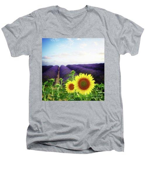 Sunrise Over Sunflower And Lavender Field Men's V-Neck T-Shirt by Anastasy Yarmolovich