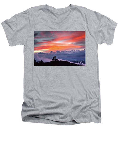 Men's V-Neck T-Shirt featuring the photograph Sunrise Over The Smoky's II by Douglas Stucky