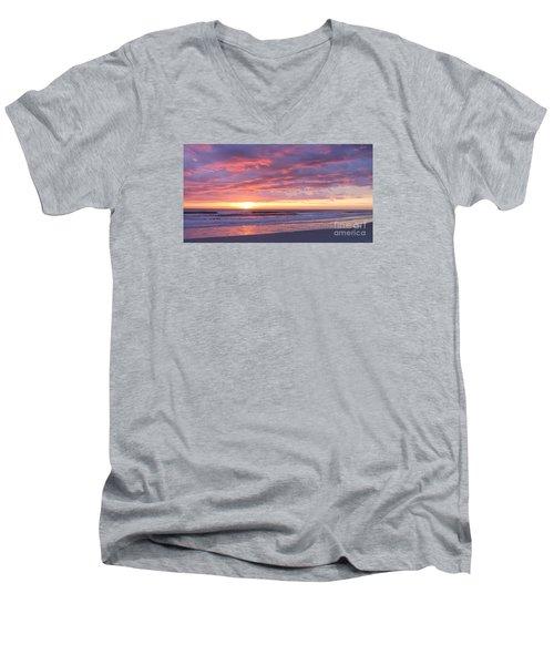 Sunrise Pinks Men's V-Neck T-Shirt by LeeAnn Kendall