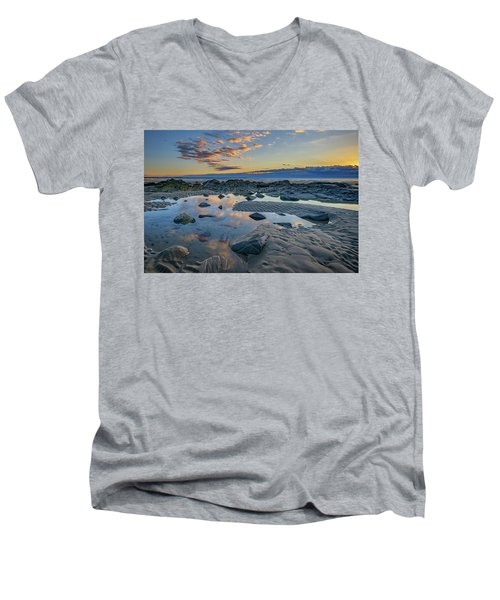 Men's V-Neck T-Shirt featuring the photograph Sunrise Reflections On Wells Beach by Rick Berk