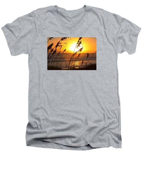 Sunrise Silhouette Men's V-Neck T-Shirt by Robert Och