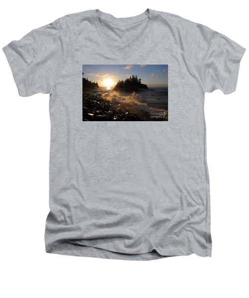 Men's V-Neck T-Shirt featuring the photograph Sunrise Waves by Sandra Updyke