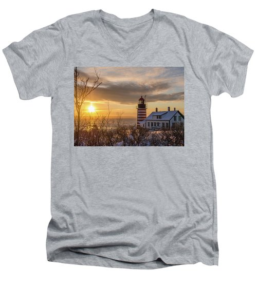 Sunrise West Quoddy Lighthouse Men's V-Neck T-Shirt by Trace Kittrell