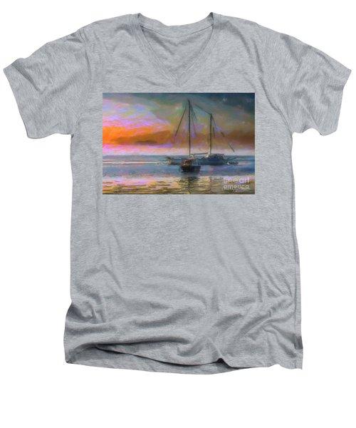 Sunrise With Boats Men's V-Neck T-Shirt