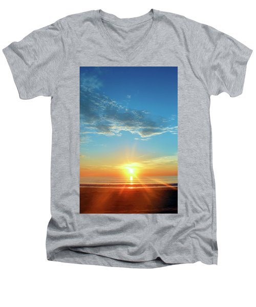 Sunrise With Flare Men's V-Neck T-Shirt by David Stasiak