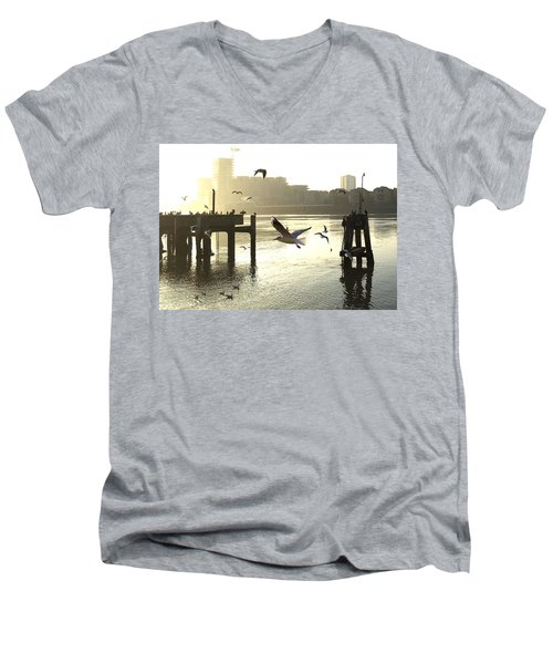 Sunrise With Seagulls Men's V-Neck T-Shirt